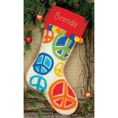 Feltworks Peace Signs Stocking