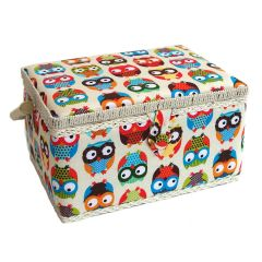 Owl Printed Sewing Basket 26 x 18.5 x 15cm | Sewing Online FM-011
