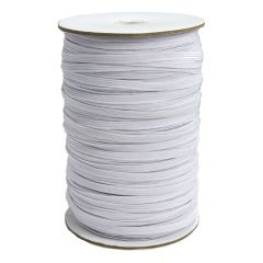 Braided Elastic Flat 8 Cord White - 6mm x 200m - Sewing Online GA06-WHT