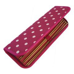 Filled Knitting Pin Case Cream and Red Polka Dot | HobbyGift MR4700F/22