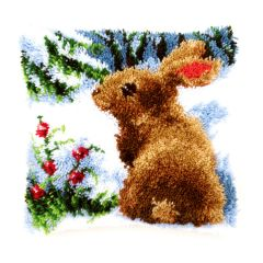 Latch Hook Cushion: Rabbit in the Snow