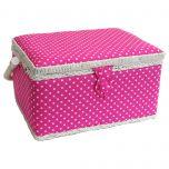 Medium Pink Polka Dot Sewing Basket 26 x 19 x 15cm | Sewing Online FM-003