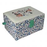 Medium Sewing Box with Compartments in a Blue Floral Fabric with an Appliqu├® Hearts and Embroidered Sewing Notions Lid. 18.5x26x15cm