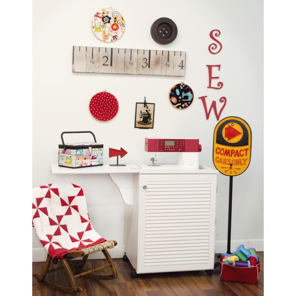 Mueble para m quina de coser senatra en blanco ebay - Mueble para maquina de coser ...