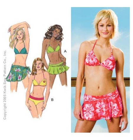 Kwik Sew Misses / Swimwear Sewing Pattern 3330 Swimsuits & Wrap   eBay