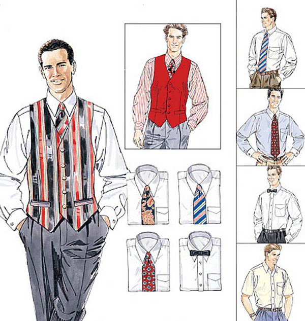 McCalls Mens Sewing Pattern 2447 Lined Vest Shirt Tie 2 Lengths Bow ...