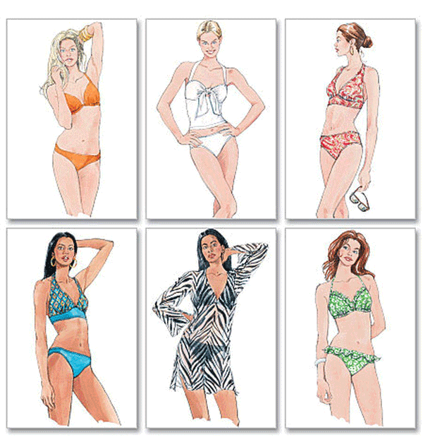 McCalls Misses Sewing Pattern 5400 Two- Piece Bathing Suit & Cover ...