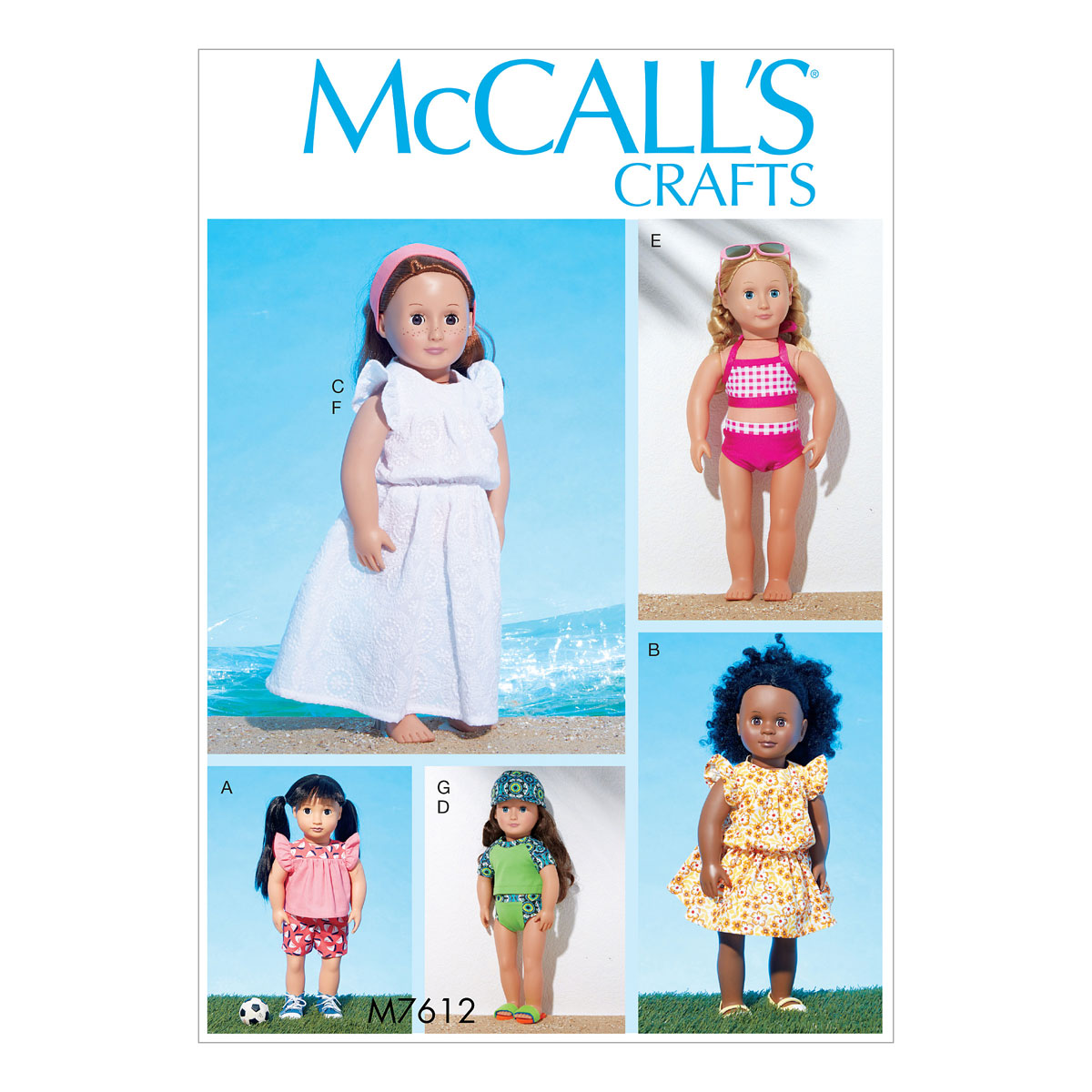 Mccalls sewing pattern m7612 18 in doll top and shorts swimsuit image is loading mccalls sewing pattern m7612 18 in doll top jeuxipadfo Gallery