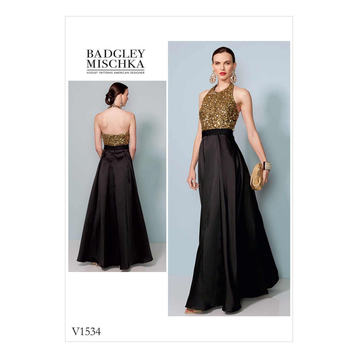 Vogue Sewing Pattern Misses Halter-Neck, Pleated Floor-Length Dress ...
