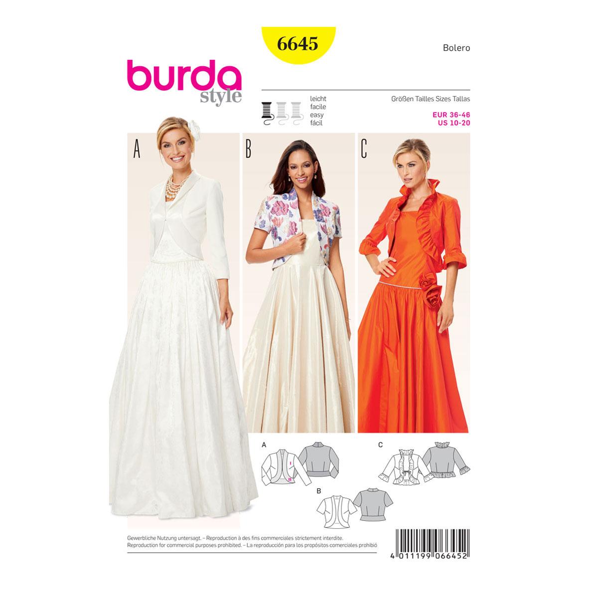Women\'s Bolero Sewing Pattern   Size 10-20   Burda Style Sewing ...