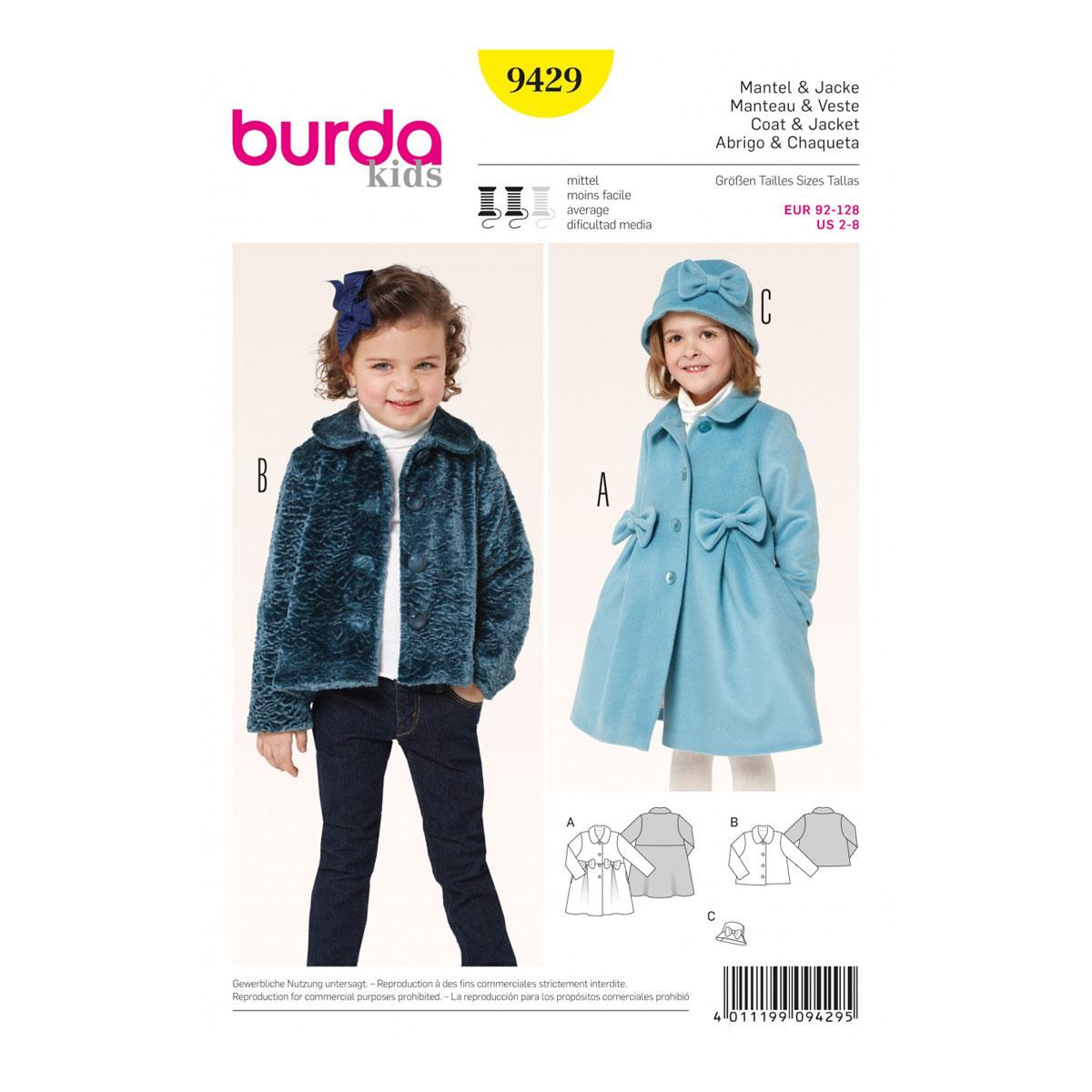 Toddlers Coat & Jacket | Size 2-8 | Burda Kids Sewing Pattern B9429 ...