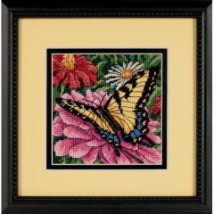 Butterfly On Zinnia Needlepoint/Tapestry Kit