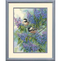 Chickadees Adnd Lilacs Cross Stitch Kit