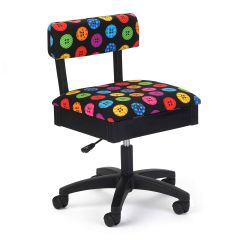 Hydraulic Sewing Chair Bright Buttons Black with Buttons Design - H8013