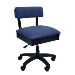Hydraulic Sewing Chair Duchess Blue Solid Colour with Lumbar Support - H8130