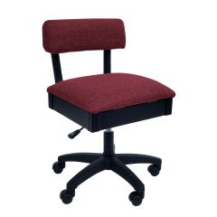 Hydraulic Sewing Chair Crown Ruby Solid Colour with Lumbar Support - H8150
