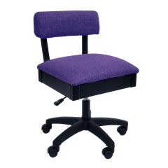 Hydraulic Sewing Chair Royal Purple Solid Colour with Lumbar Support - H8160