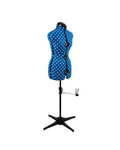 Adjustable 8-Part Dressmaking Dummy UK 10-16 Duck Egg Blue Polka Dot Adjustoform