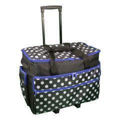 Sewing Machine Trolley Bag Black and White Spot with Blue Trim 53 x 41 x 29cm