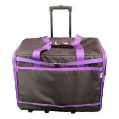 XL Sewing Machine Trolley Bag Plain Black with Purple Trim 63 x 43 x 30cm