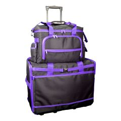 XL Sewing Machine Trolley Bag with Machine/Overlocker Bag Black with Purple Trim