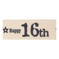 Berisfords 15mm Charcoal Special 16th Birthday Ribbon (4m spool)