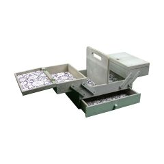 Medium Wooden Cantilever Sewing Box - Grey with Lace inspired Design Interior - Sewing Online