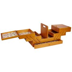 Large Wooden Cantilever Sewing Box Stained Wood with Rosebud Design Interior - Sewing Online