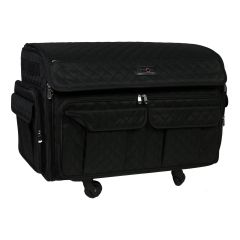 Everything Mary 12618-1 Black Quilted XL 360┬░ Rolling Sewing Case, 4 Wheeled Overlocker or Sewing Machine Trolley Bag
