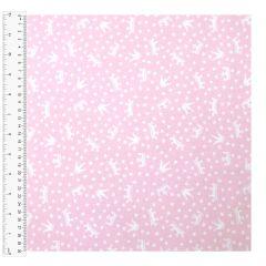 Cotton Craft Fabric 110cm wide x 1m | Princess Crowns | 13629-LTPINK