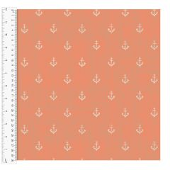 Cotton Craft Fabric 110cm wide x 1m | Give Me The Sea Anchors | 13762-CORAL