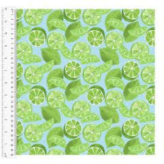 Cotton Craft Fabric 110cm wide x 1m | Tropicale Limes | 13780-TURQ