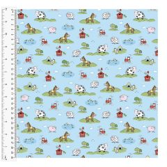 Brushed Cotton Craft Fabric 110cm wide x 1m - Meadow - 14982-BLUE