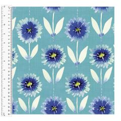 Cotton Craft Fabric 110cm wide x 1m - Charisma - Aster - 15002-TURQ