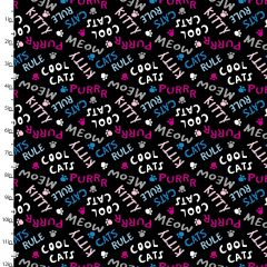 Cotton Craft Fabric 110cm x 1m Cool Cat Club Collection - Cat Words
