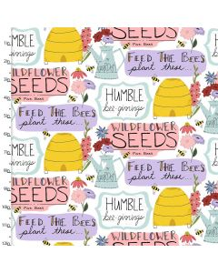 Cotton Craft Fabric 110cm wide x 1m Feed The Bees Collection-Garden Words