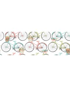Cotton Craft Fabric 110cm wide x 1m Beach Travel Collection-Bicycles