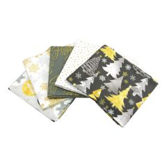 Fat Quarter Bundle Metallic Forest | Pack of 5 Fat Quarters by Sewing Online FE0054
