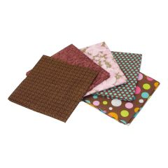 Brown Dots and Floral Themed Pack of 5 Cotton Fat Quarters Sewing Online FE0099