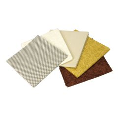 Browns and Creams Themed Pack of 5 Cotton Fat Quarters - Sewing Online FE0100