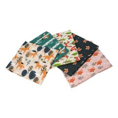 Woodland Fox Themed Pack of 5 Cotton Fat Quarters - Sewing Online FA213
