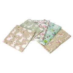 Hop To It Themed Pack of 5 Cotton Fat Quarters - Sewing Online FA222