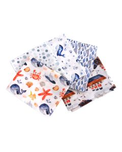 Blue Sea Whales Themed Pack of 5 Cotton Fat Quarters - Sewing Online FA233