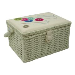 Buttons, Needle and Thread Embroidered Sewing Box | Sewing Online FM-001