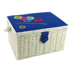 Buttons Needle Thread Blue Embroidered Medium Sewing Box | Sewing Online FM-012