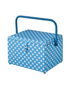 Large Sewing Box with Compartments in a Duck Egg Blue Polka Dot Fabric. 23.5x31x20.5cm