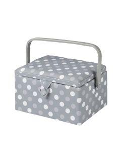 Medium Sewing Basket Grey Spot 18.5 x 26 x 15cm