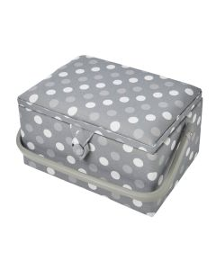 Medium Sewing Basket Grey Spot 18.5 x 26 x 15cm