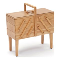 3 Tier Wooden Cantilever Sewing Box with Legs - Light Wood Shade