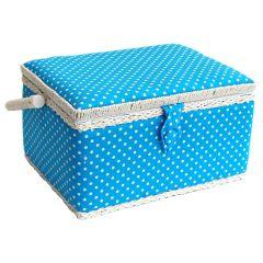 Medium Blue Polka Dot Sewing Basket 26 x 19 x 15cm | Sewing Online FM-004